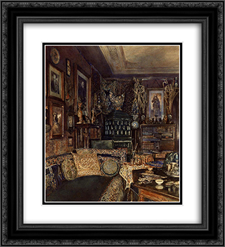 The Office of Count Lanckoronski, Vienna 20x22 Black or Gold Ornate Framed and Double Matted Art Print by Rudolf von Alt