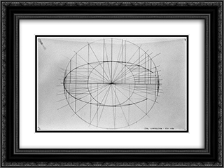 Oval Construction (Konstruktionszeichnung) 24x18 Black or Gold Ornate Framed and Double Matted Art Print by Ruth Vollmer