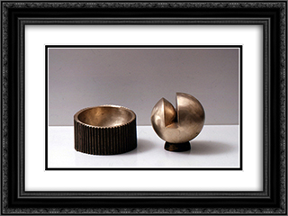 Trenchant Sphere 24x18 Black or Gold Ornate Framed and Double Matted Art Print by Ruth Vollmer