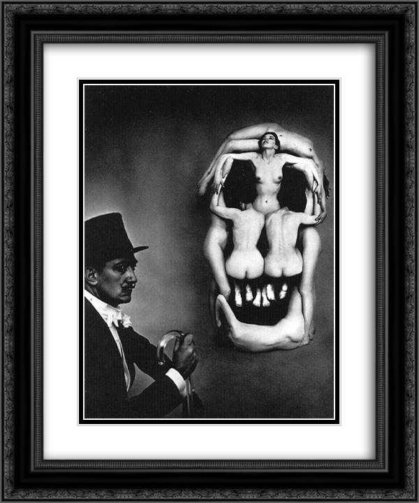 Women forming a skull 20x24 Black or Gold Ornate Framed and Double Matted Art Print by Salvador Dali