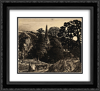 A Church among Trees 22x20 Black or Gold Ornate Framed and Double Matted Art Print by Samuel Palmer