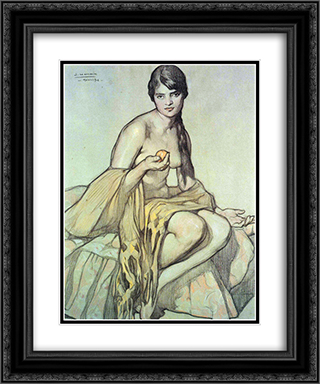 El rebozo 20x24 Black or Gold Ornate Framed and Double Matted Art Print by Saturnino Herran
