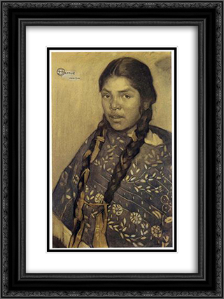 Indian with quechquemitl 18x24 Black or Gold Ornate Framed and Double Matted Art Print by Saturnino Herran