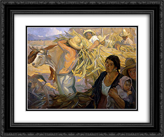 La cosecha 24x20 Black or Gold Ornate Framed and Double Matted Art Print by Saturnino Herran