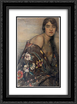 La criolla del manton 18x24 Black or Gold Ornate Framed and Double Matted Art Print by Saturnino Herran