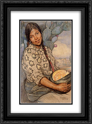 Mujer con calabaza 18x24 Black or Gold Ornate Framed and Double Matted Art Print by Saturnino Herran