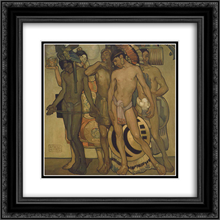 Nuestros dioses antiguos 20x20 Black or Gold Ornate Framed and Double Matted Art Print by Saturnino Herran