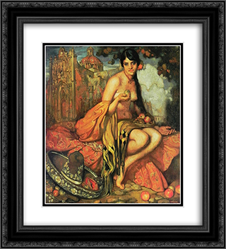 unknown title 20x22 Black or Gold Ornate Framed and Double Matted Art Print by Saturnino Herran
