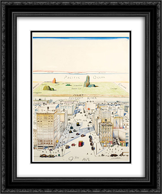View of the World from 9th Avenue 20x24 Black or Gold Ornate Framed and Double Matted Art Print by Saul Steinberg