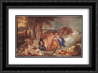 Bacchus and Ceres with Nymphs and Satyrs 24x18 Black or Gold Ornate Framed and Double Matted Art Print by Sebastien Bourdon