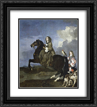 Equestrian portrait of Christina, Queen of Sweden 20x22 Black or Gold Ornate Framed and Double Matted Art Print by Sebastien Bourdon
