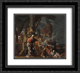 King Solomon Sacrificing to the Idols 22x20 Black or Gold Ornate Framed and Double Matted Art Print by Sebastien Bourdon