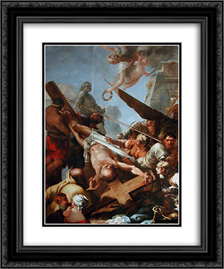 Le crucifiement de Saint Pierre 20x24 Black or Gold Ornate Framed and Double Matted Art Print by Sebastien Bourdon