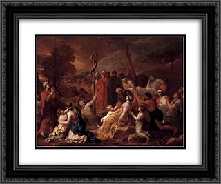 Moses and the Brazen Serpent 24x20 Black or Gold Ornate Framed and Double Matted Art Print by Sebastien Bourdon