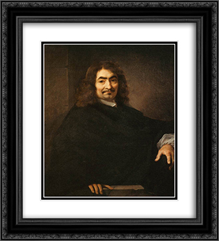 Presumed Portrait of Rene Descartes 20x22 Black or Gold Ornate Framed and Double Matted Art Print by Sebastien Bourdon