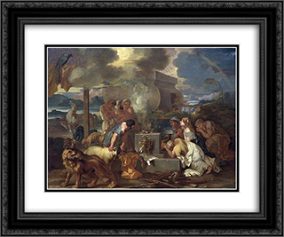 Sacrifice of Noah 24x20 Black or Gold Ornate Framed and Double Matted Art Print by Sebastien Bourdon