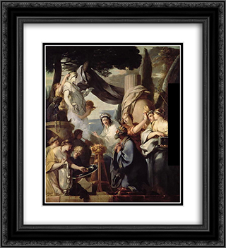 Solomon making a sacrifice to the idols 20x22 Black or Gold Ornate Framed and Double Matted Art Print by Sebastien Bourdon
