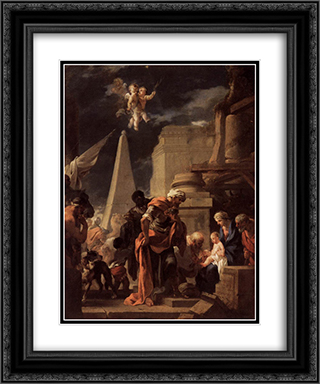 The Adoration of the Magi 20x24 Black or Gold Ornate Framed and Double Matted Art Print by Sebastien Bourdon