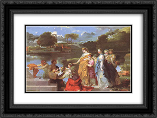 The Finding of Moses 24x18 Black or Gold Ornate Framed and Double Matted Art Print by Sebastien Bourdon