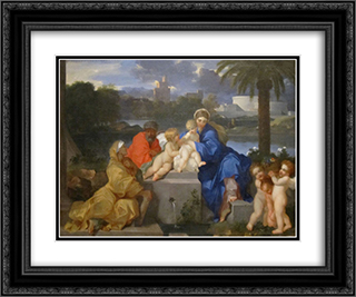 The Holy Family with Saints Elizabeth and the Infant John the Baptist 24x20 Black or Gold Ornate Framed and Double Matted Art Print by Sebastien Bourdon