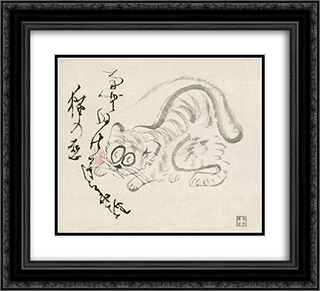 Cat (Tiger) & poem 22x20 Black or Gold Ornate Framed and Double Matted Art Print by Sengai