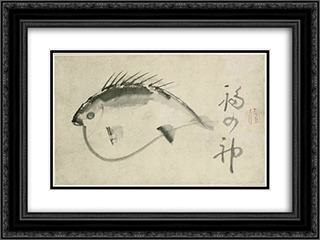 Fish 24x18 Black or Gold Ornate Framed and Double Matted Art Print by Sengai