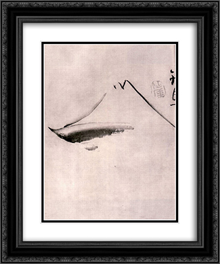 Fuji-san 20x24 Black or Gold Ornate Framed and Double Matted Art Print by Sengai