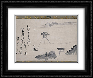 Hakozaki 24x20 Black or Gold Ornate Framed and Double Matted Art Print by Sengai