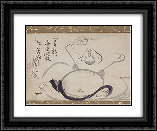 Hotei Wakes from a Nap 24x20 Black or Gold Ornate Framed and Double Matted Art Print by Sengai