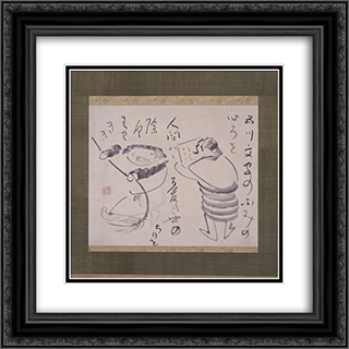 Kanzan and Jittoku 20x20 Black or Gold Ornate Framed and Double Matted Art Print by Sengai