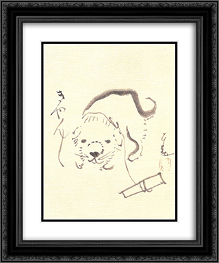 Puppy 20x24 Black or Gold Ornate Framed and Double Matted Art Print by Sengai