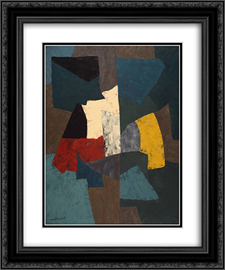 Abstract Composition 20x24 Black or Gold Ornate Framed and Double Matted Art Print by Serge Poliakoff