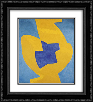 Composition abstraite 20x22 Black or Gold Ornate Framed and Double Matted Art Print by Serge Poliakoff