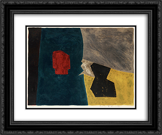 Composition bleue, jaune et grise 24x20 Black or Gold Ornate Framed and Double Matted Art Print by Serge Poliakoff