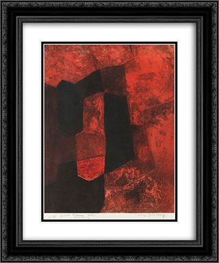 Composition brune et rouge 20x24 Black or Gold Ornate Framed and Double Matted Art Print by Serge Poliakoff