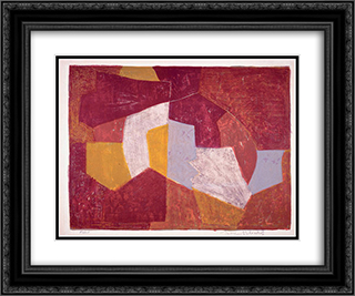 Composition carmin, brune, jaune et grise 24x20 Black or Gold Ornate Framed and Double Matted Art Print by Serge Poliakoff