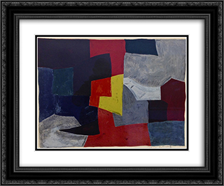 Composition grise, rouge et jaune 24x20 Black or Gold Ornate Framed and Double Matted Art Print by Serge Poliakoff