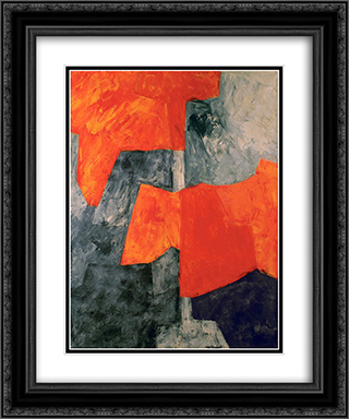 Composition grise et rouge 20x24 Black or Gold Ornate Framed and Double Matted Art Print by Serge Poliakoff