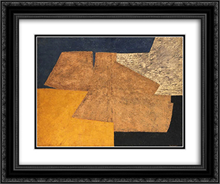 Composition jaune, mauve, bleu et noir (La table d'or) 24x20 Black or Gold Ornate Framed and Double Matted Art Print by Serge Poliakoff