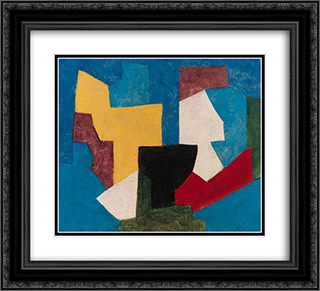 Composition multicolore a dominante bleue 22x20 Black or Gold Ornate Framed and Double Matted Art Print by Serge Poliakoff
