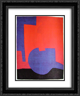 Composition rouge 20x24 Black or Gold Ornate Framed and Double Matted Art Print by Serge Poliakoff