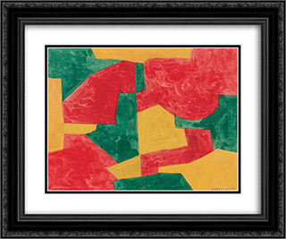 Composition verte, rouge et jaune 24x20 Black or Gold Ornate Framed and Double Matted Art Print by Serge Poliakoff