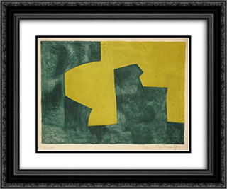 Composition verte et jaune 24x20 Black or Gold Ornate Framed and Double Matted Art Print by Serge Poliakoff