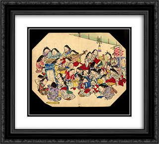 A comic pusuits of ladies 22x20 Black or Gold Ornate Framed and Double Matted Art Print by Shibata Zeshin