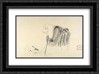 A Mouse as a Monk 24x18 Black or Gold Ornate Framed and Double Matted Art Print by Shibata Zeshin