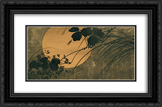Autumn Grasses in Moonlight 24x16 Black or Gold Ornate Framed and Double Matted Art Print by Shibata Zeshin