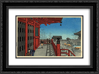 Asakusa Kannon, Tokyo 24x18 Black or Gold Ornate Framed and Double Matted Art Print by Shotei Takahashi