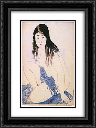 Awabi Pearl Fisher 18x24 Black or Gold Ornate Framed and Double Matted Art Print by Shotei Takahashi