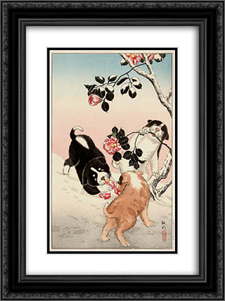 Camellia and Puppies in Snow 18x24 Black or Gold Ornate Framed and Double Matted Art Print by Shotei Takahashi