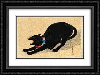 Cat with Bell 24x18 Black or Gold Ornate Framed and Double Matted Art Print by Shotei Takahashi